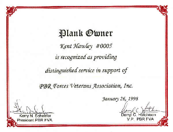 Certificate from PRB Forces Veterans Association